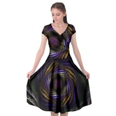 Fractal Abstract Fractal Art Cap Sleeve Wrap Front Dress