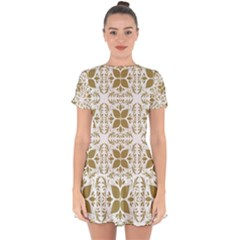 Illustrations Pattern Gold Floral Texture Design Drop Hem Mini Chiffon Dress by Pakrebo