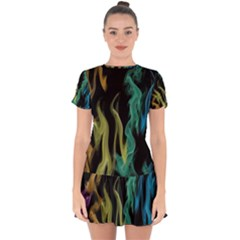 Smoke Rainbow Colors Colorful Fire Drop Hem Mini Chiffon Dress by Pakrebo
