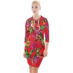 Tropical Paradise Quarter Sleeve Hood Bodycon Dress by tarastyle