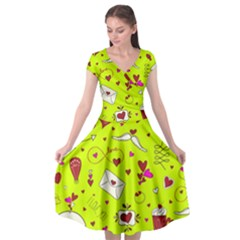 Valentin s Day Love Hearts Pattern Red Pink Green Cap Sleeve Wrap Front Dress by EDDArt