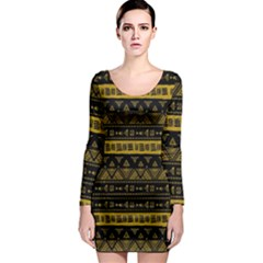 Native American Ornaments Watercolor Pattern Black Gold Long Sleeve Bodycon Dress by EDDArt