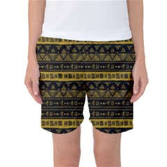 Native American Ornaments Watercolor Pattern Black Gold Women s Basketball Shorts by EDDArt