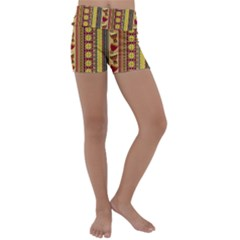 Traditional Africa Border Wallpaper Pattern Colored 4 Kids  Lightweight Velour Yoga Shorts by EDDArt