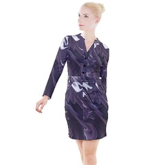 Purple Marble Digital Abstract Button Long Sleeve Dress