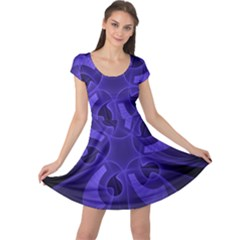 Fractal Blue Star Abstract Cap Sleeve Dress