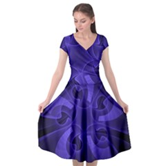 Fractal Blue Star Abstract Cap Sleeve Wrap Front Dress