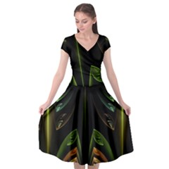 Fractal Texture Pattern Flame Cap Sleeve Wrap Front Dress