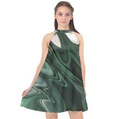 Green Marble Digital Abstract Halter Neckline Chiffon Dress