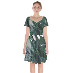 Green Marble Digital Abstract Short Sleeve Bardot Dress by Pakrebo