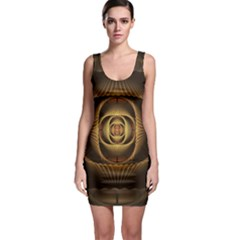 Fractal Copper Amber Abstract Bodycon Dress