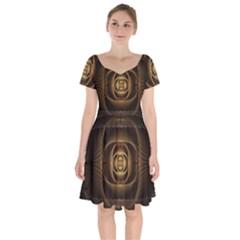 Fractal Copper Amber Abstract Short Sleeve Bardot Dress by Pakrebo