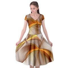 Abstract Gold White Background Cap Sleeve Wrap Front Dress