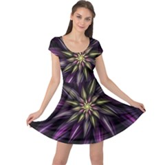 Fractal Flower Floral Abstract Cap Sleeve Dress