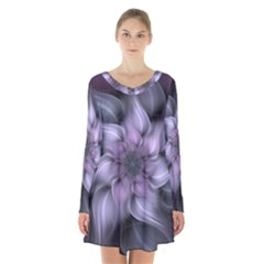 Fractal Flower Lavender Art Long Sleeve Velvet V Neck Dress by Pakrebo