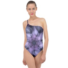 Fractal Flower Lavender Art Classic One Shoulder Swimsuit by Pakrebo