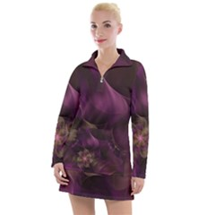 Fractal Pink Lavender Flower Bloom Women s Long Sleeve Casual Dress by Pakrebo