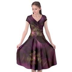 Fractal Pink Lavender Flower Bloom Cap Sleeve Wrap Front Dress
