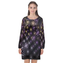 Fractal Spheres Glitter Design Long Sleeve Chiffon Shift Dress