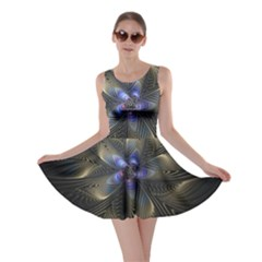 Fractal Blue Abstract Fractal Art Skater Dress