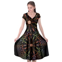 Fractal Colorful Pattern Texture Cap Sleeve Wrap Front Dress