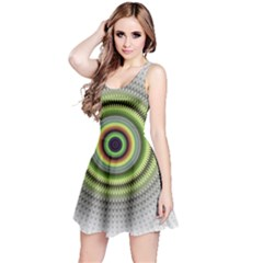 Fractal Mandala White Background Reversible Sleeveless Dress