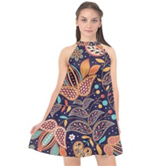 Paisley Halter Neckline Chiffon Dress  by Sobalvarro