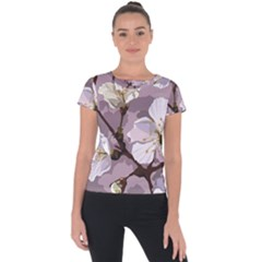 Peach Blossom Seamless Pattern Vector Short Sleeve Sports Top