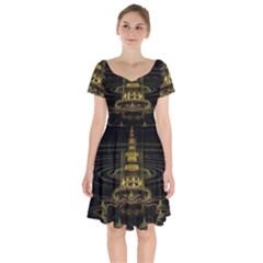 Fractal City Geometry Lights Night Short Sleeve Bardot Dress