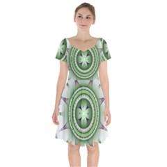 Fractal Mandala Green Purple Short Sleeve Bardot Dress