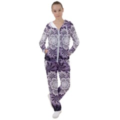 Fractal Floral Striped Lavender Women s Tracksuit by Pakrebo