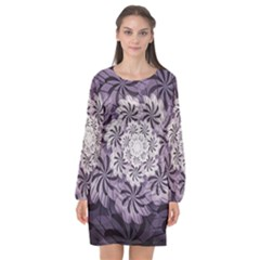 Fractal Floral Striped Lavender Long Sleeve Chiffon Shift Dress