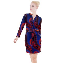 Fractal Abstract Pattern Circles Button Long Sleeve Dress