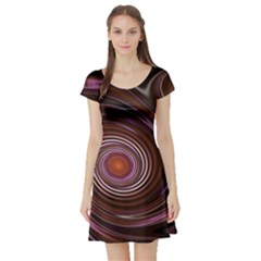 Fractal Waves Pattern Design Short Sleeve Skater Dress