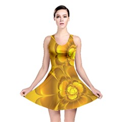 Fractal Yellow Flower Floral Reversible Skater Dress