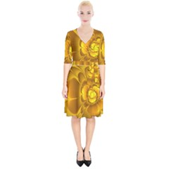 Fractal Yellow Flower Floral Wrap Up Cocktail Dress by Pakrebo