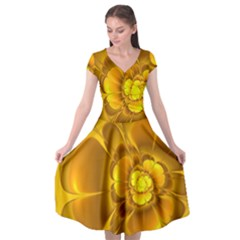 Fractal Yellow Flower Floral Cap Sleeve Wrap Front Dress by Pakrebo