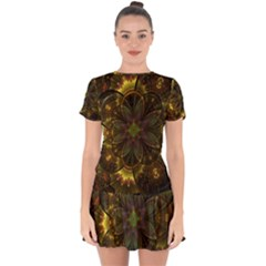 Fractal Flower Fall Gold Colorful Drop Hem Mini Chiffon Dress by Pakrebo