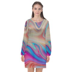 Multi Color Liquid Background Long Sleeve Chiffon Shift Dress