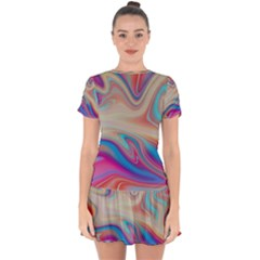Multi Color Liquid Background Drop Hem Mini Chiffon Dress by Pakrebo