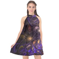 Fractal Purple Abstract Detail Halter Neckline Chiffon Dress