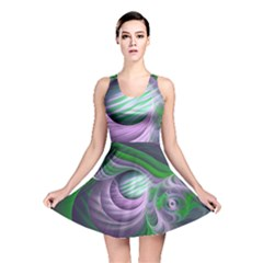 Purple Green Fractal Texture Reversible Skater Dress