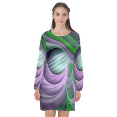 Purple Green Fractal Texture Long Sleeve Chiffon Shift Dress