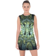 Fractal Green Gold Glowing Lace Up Front Bodycon Dress
