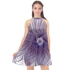 Purple Lavender Wisps White Halter Neckline Chiffon Dress