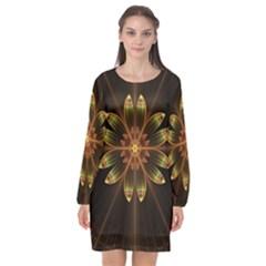 Fractal Floral Mandala Abstract Long Sleeve Chiffon Shift Dress  by Pakrebo