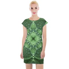 Fractal Green St Patrick S Day Cap Sleeve Bodycon Dress