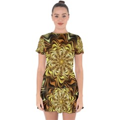 Fractal Flower Petals Gold Drop Hem Mini Chiffon Dress by Pakrebo