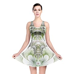 Fractal Delicate White Background Reversible Skater Dress