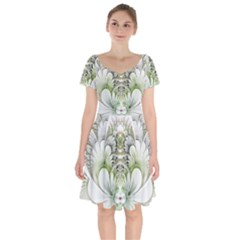 Fractal Delicate White Background Short Sleeve Bardot Dress